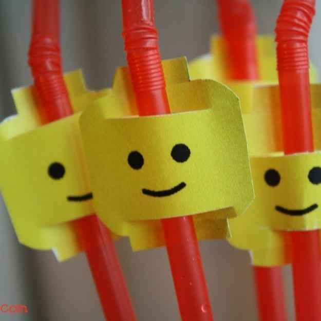 You can make your straws Lego themed, too.   How To Throw The Ultimate LEGO Birthday Party
