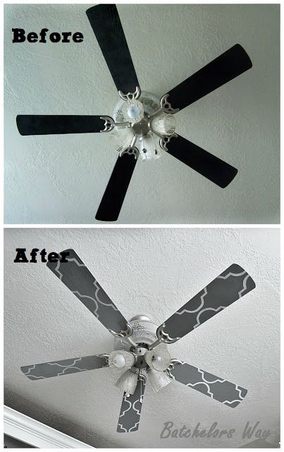 Custom Ceiling Fan Blades, stencil OMG brilliant idea!  I'm allowed to paint/ stain/ redo whatever I want.....but fixtures??  I'd have to do that when the hubby is at work. Ha + resale?  Even though your not supposed to-you know everyone picks out every cosmetic thing when looking @ houses, even though it's a simple fix.