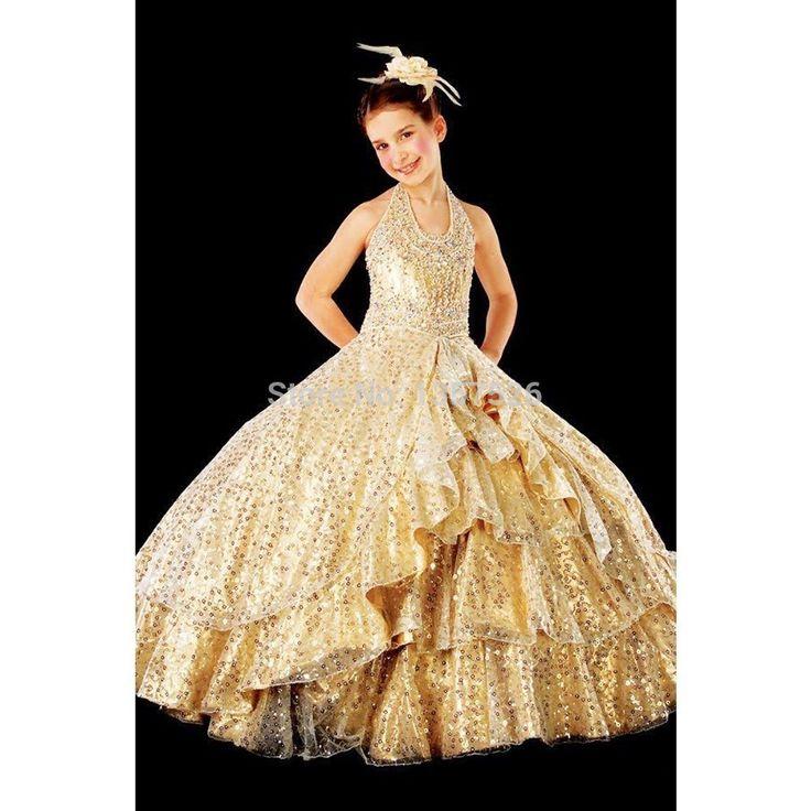 Bling Bling Золотые Девушки Pageant Платья спинки полная длина бальное платье с блестками 2016 цветочница платье pageant платья для малышей