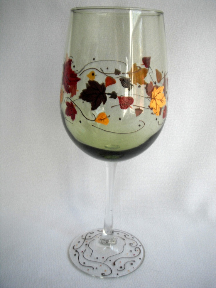 Handpainted Fall Wine glass  Autumn Leaves  by JessicaLeighDesigns, $25.00