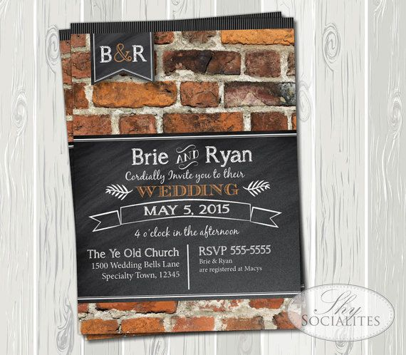 Brick & Chalkboard Invitation | Typography, Blackboard, Monogram, Rustic, Shabby Chic, French, Wedding, Bridal Shower, Birthday