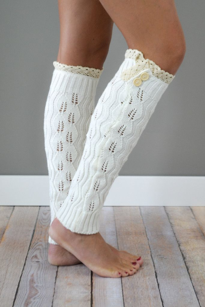 Cream Knitted Leg Warmers with Lace