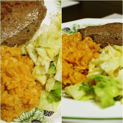 Hagymás tört zellerpüré, ropogós kelkáposzta és steak