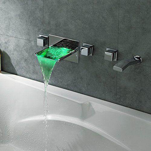 Lovedima Modern Wall Mount Bathroom Led Waterfall Roman Bathtub