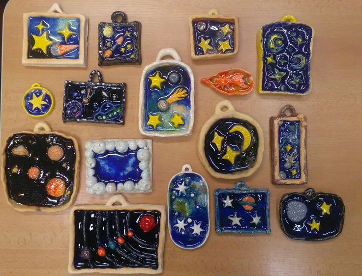 Ceramic starry night; universe; melted glass and beads