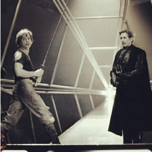 Luke Skywalker, Mark Hamill and Darth Vader stunt double, Bob Anderson - The Empire Strikes Back, behind the scenes, 1979