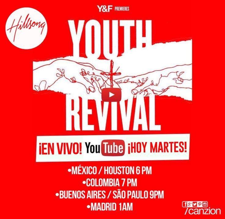 #EnUnaHora. No te pierdas el #LiveStream de Hillsong Young & Free por su canal de YouTube Young & Free aquí ➜ hil.so/yfyt   •MÉXICO / HOUSTON 6 PM •COLOMBIA 7 PM •BUENOS AIRES / SAO PAULO 9PM •MADRID 1AM
