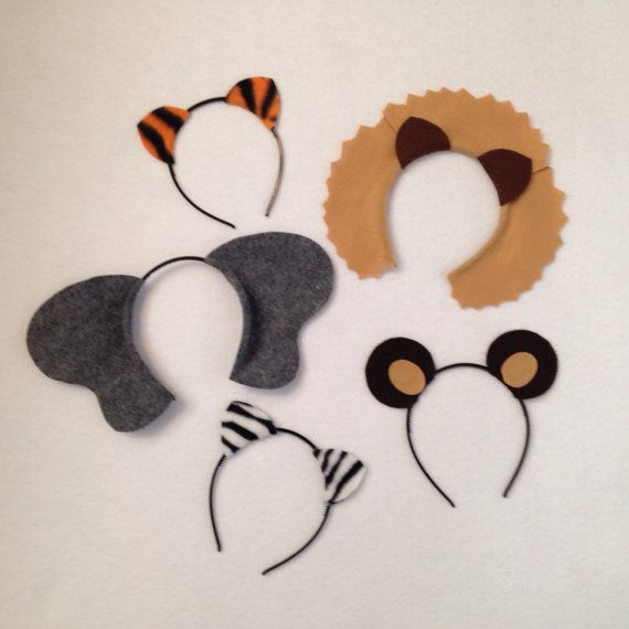 You will receive 2 of each of the following: lion, elephant, tiger, zebra, and bear ears headbands. Color options are endless and can be completely