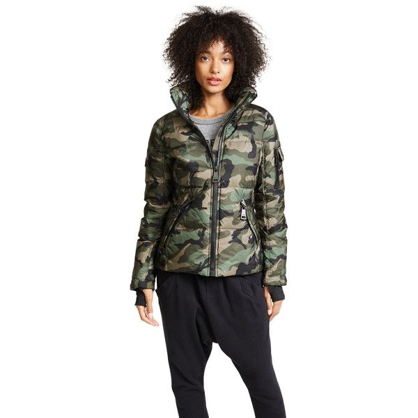 SAM. Camo Freestyle Quilted Jacket ($400) ❤ liked on Polyvore featuring outerwear, jackets, olive, olive green puffer jacket, quilted puffer jacket, quilted jacket, puffer jacket and camo puffer jacket