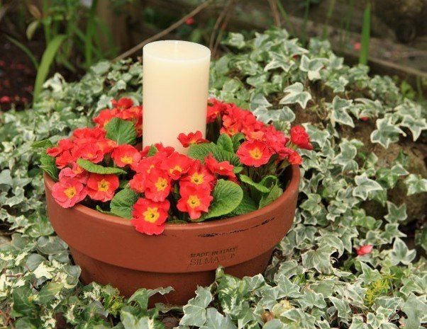 diy outdoor table centerpiece with flowers and candles, container gardening, flowers, gardening, outdoor living