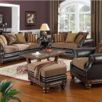 black-leather-sofa-with-brown-comfy-seating-and-damask-or-striped-pattern-cushion-also-purple-wall-paint-plus-laminated-wooden-flooring-as-well-as-red-white-floral-rug a part of  under Living Room