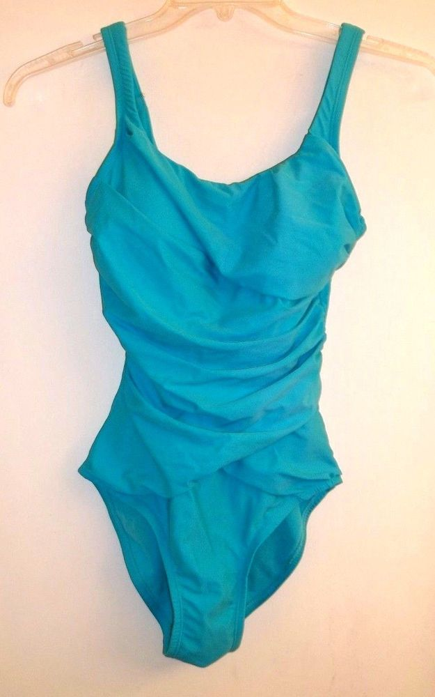 Love your Assets by Spanx Slimming Ruched Swimsuit Turquoise Size-Small #LoveyourASSETSbySpanx #OnePiece
