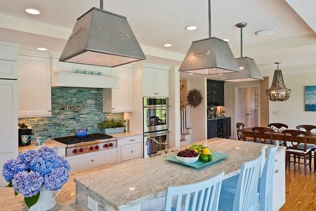 white and turquoise kitchen Cape Cod