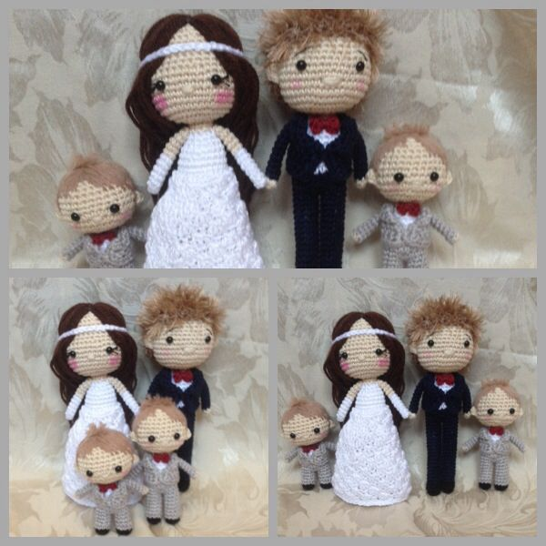 Crocheted wedding dolls. Bride and groom and page boys. (Inspiration).