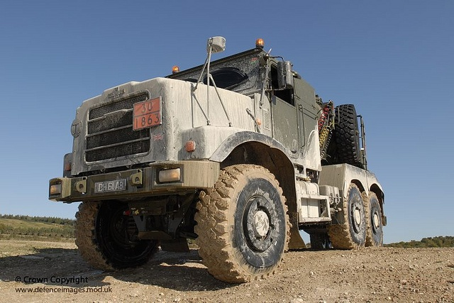 An Oshkosh Tactical Air Refueller Wheeled Tanker negotiates rough terrain driver training at Salisbury Plain by 4 Regiment Army Air Corps (AAC).