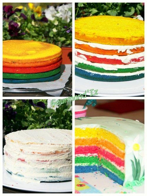 rainbow cake, cake design, gâteau printemps, spring cake, gâteau arc en ciel, pate à sucre