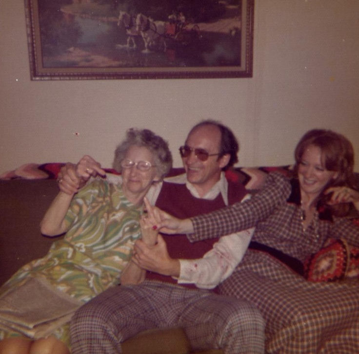 """My """"crazy"""" Mother shooting the bird, influenced by me and my equally """"crazy"""" sister. 1972."""