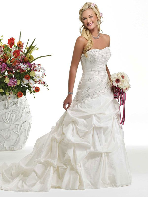 New Arrival A Line Taffeta Sleeveless Bridal Gown