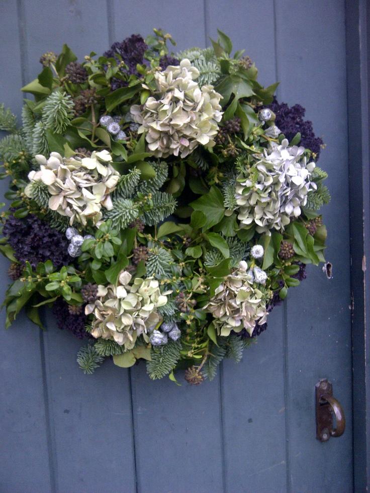 dried hydrangea wreath - Catkin