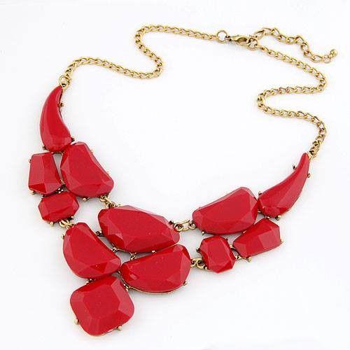 Collar de moda en color Rojo , Collar con cadena dorada y 5cm de cadena alargadora