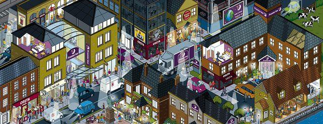 Whitbread website cityscape illustration - Night Time scene by Rod Hunt   http://www.rodhunt.com