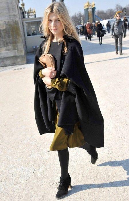 Black collarless cape coat + green dress + black heeled boots