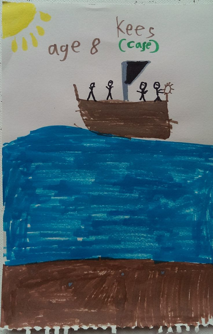 Sailboat with people Artist: Kees, Age 8