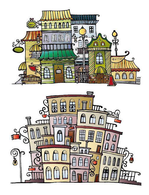 cartoons of houses | Cartoon town house vector material2 Cartoon town house vector material