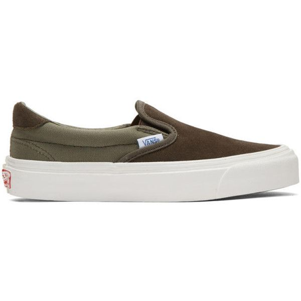 Vans Khaki OG Classic LX 59 Slip-On Sneakers ($59) ❤ liked on Polyvore featuring shoes, sneakers, khaki, slip on trainers, slip-on sneakers, slip on sneakers, elastic shoes and vans shoes