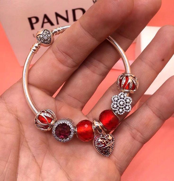$169 pandora red new year charm bracelet 7 pcs charms