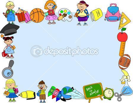 Školní potřeby, školní děti, rám — Stock Vektor © virinaflora #36349365