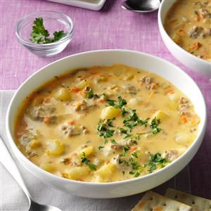 Big Batch Cheeseburger Soup Recipe -When my mother-in-law gave me her recipe for cheeseburger soup, I changed it a little to make it my own. You can use turkey meat instead of beef or add bell peppers or jalapenos for a little kick. —Christina Addison, Blanchester, Ohio
