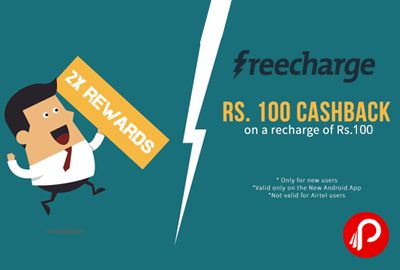 Freecharge offers Rs.100 Cashback on Rs. 100 on Recharge. Only for first time FreeCharge users, Not valid for Airtel transactions, Valid once per new user/credit card/debit card,. Freecharge Coupon Code – BBKFC15CCAUG  http://www.paisebachaoindia.com/get-rs-100-cashback-on-rs-100-on-recharge-freecharge/