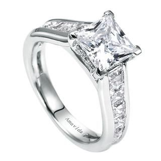Princess Cut Engagement Ring with Channel Set Band