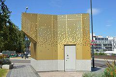 Golden Shower (Jamie Barras) Tags: uk england building london metal modern century design contemporary 21st wc pavilion urinal archictecture wembley ldn14