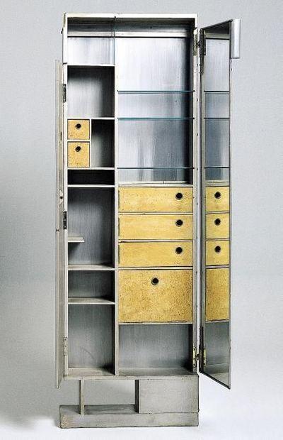 _Eileen Gray _meuble de toilette pour la chambre à coucher, villa E1027 _1926 _Aluminium plié soudé, bois, liège, miroir
