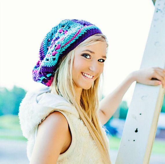 Teen Fashion Granny Square Hat for Women Teen Girls in Jewel by foreverandrea, $60.00