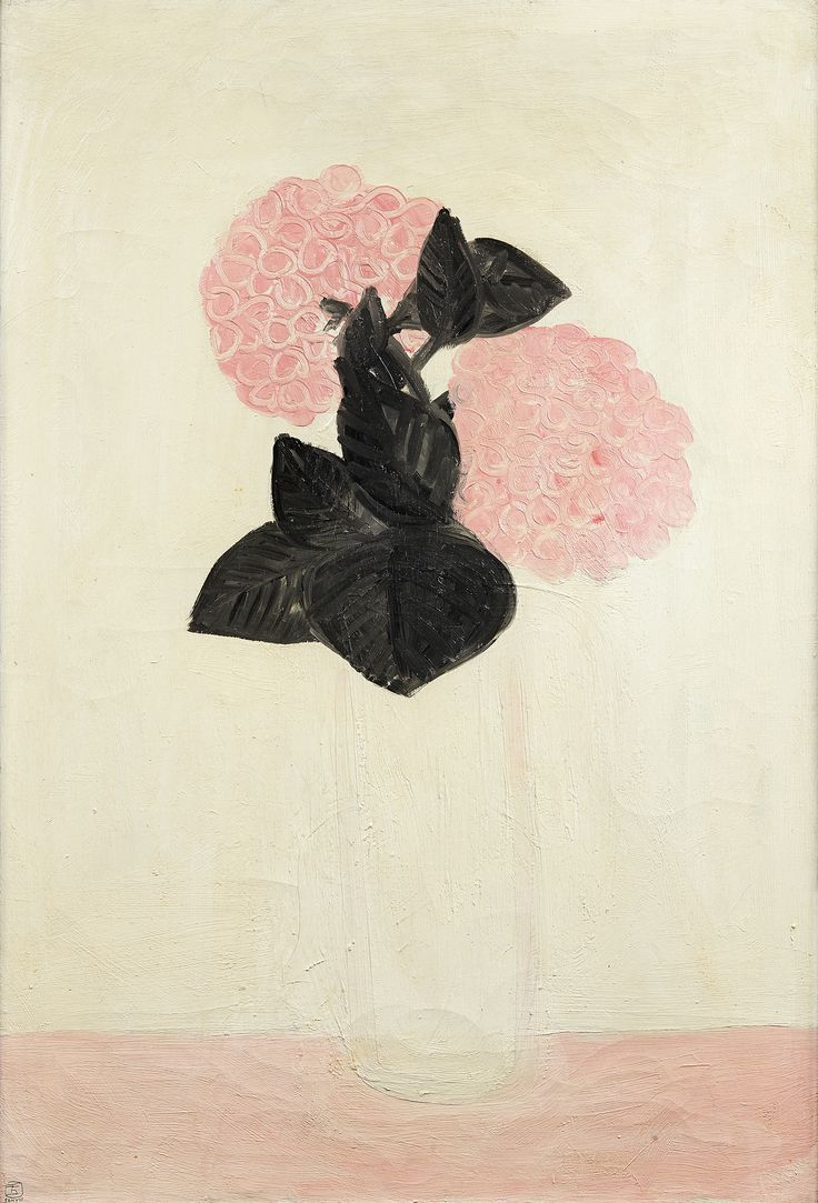 "Sanyu (1901-1966), ""Deux gros hortensias roses, dans un vase blanc"", February 1931, oil on canvas signed on the bottom left, countersigned, with the location (Paris) and date (2.193) on the back, 73 x 50 cm. Estimate: €500,000/700,000."