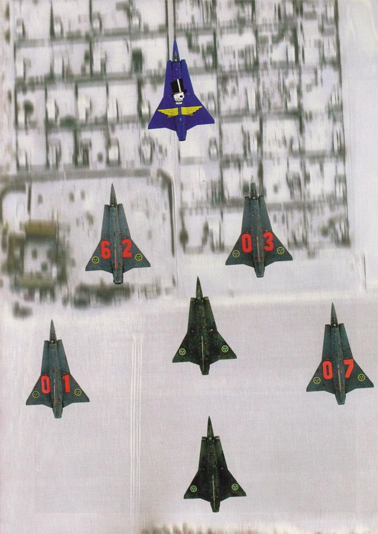 A flight of Swedish Saab 35 Drakens.