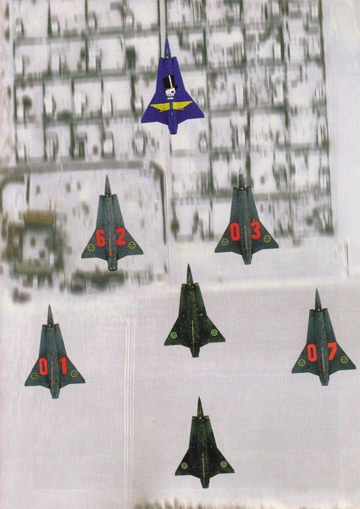 A flight of Swedish Saab 35 Drakens