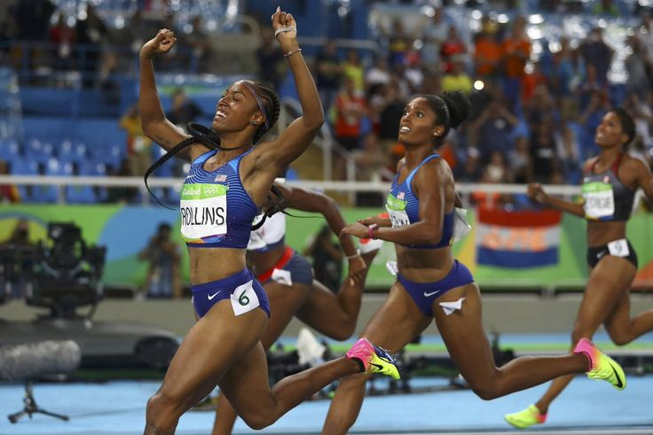 Briana Rollins, Nia Ali, Kristi Castlin sweep the 100m Hurdles for #USA 1st sweep in this event in #Olympics history