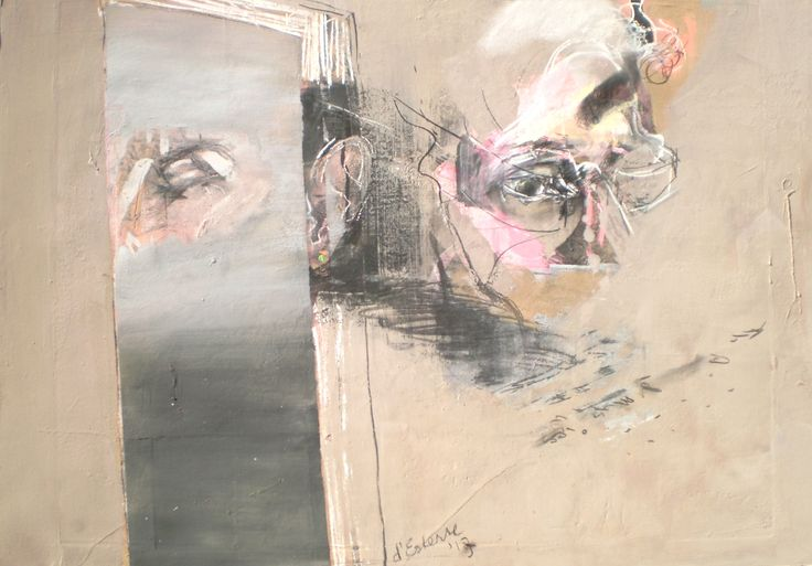 ELAINE d'ESTERRE - Verbal Echo, 2013,  gouache, pastel, ink and charcoal  65x95 cm by Elaine d'Esterre about experiencing a stage in the writing of poetry , viewed at http://elainedesterreart.com and http://www.facebook.com/elaine.desterre/ and http://instagram.com/desterreart/