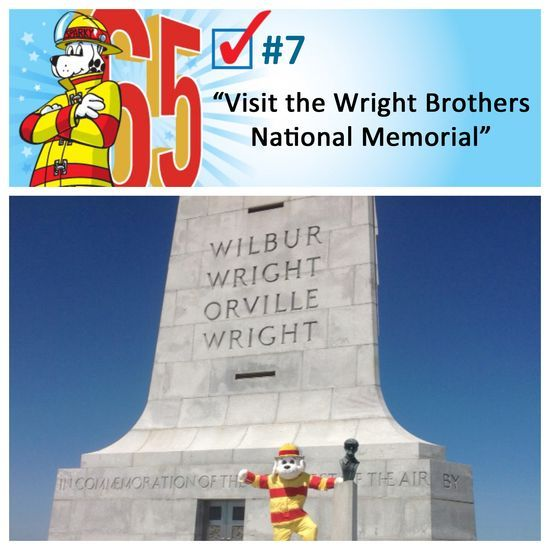 Sparky checks off bucket list item #7 - visits the Wright Brothers National Memorial. #Sparkys65th