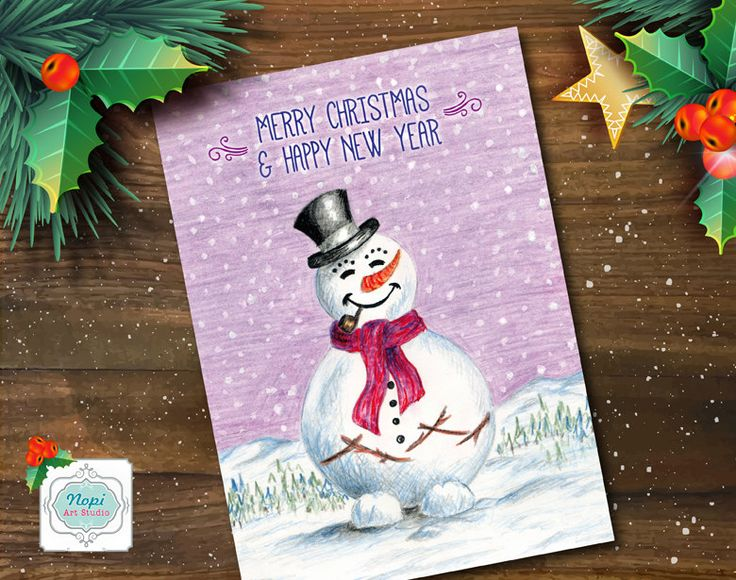Snowman Greeting Card, Christmas Card Printable, Merry Christmas Card, Printable Happy New Year Card, Watercolor Christmas Holiday Card by NopiArtStudio on Etsy