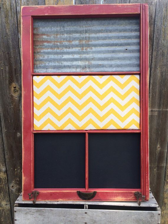 Reclaimed Old Window - Rusty MAGNETIC Barn Tin - Yellow CHEVRON Bulletin Board - CHALKBOARD - Red Shabby Chic Frame - Rustic Farmhouse Chic