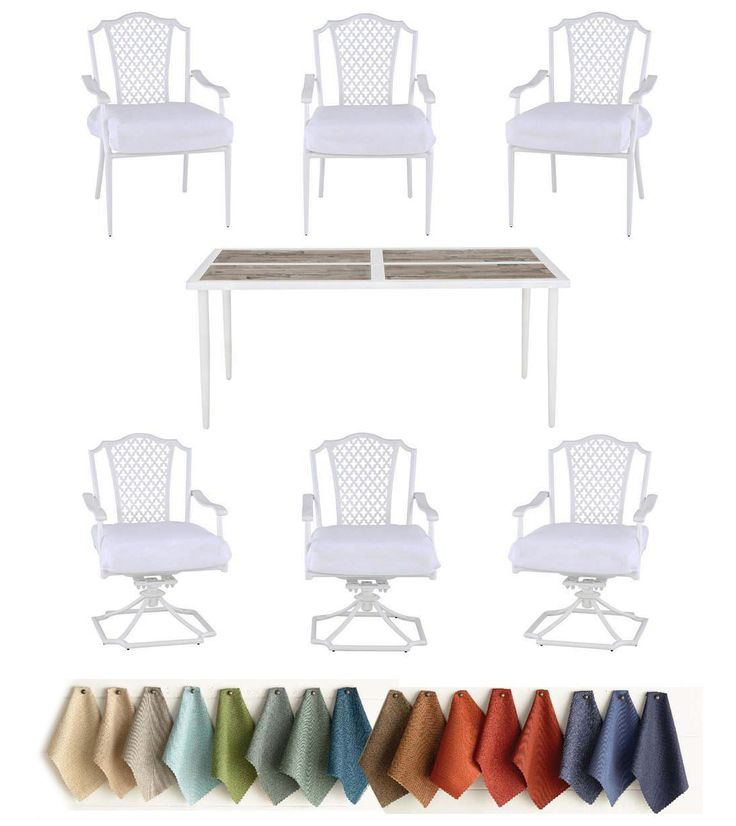 CUSTOMIZE! Add colorful, elegant style to your outdoor living area w/the Alveranda 7-Piece Patio Dining Set from Hampton Bay. This set includes a table, four stationary dining chairs and 2 swivel rocker chairs. Custom Orders are NOT returnable. #dining #table #outdoor #patio #deck #family #white #cottage #custom #rustic #retro