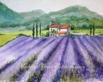 Image Result For Watercolor Paintings Of Lavender Fields Watercolor Landscape Painting Watercolor Paintings