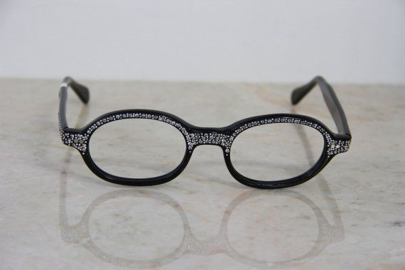 Vintage 1950 S Women S New Jeweled Round Black Glasses