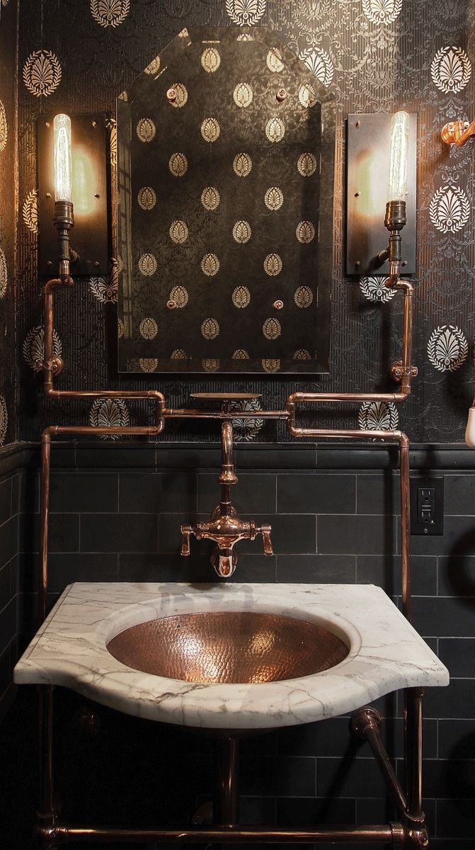 STEAMPUNK STYLE: dark and masculine #bathroom design with an industrial #steampunk vibe