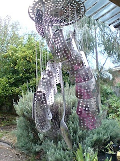 veg steamer becomes wind chime  Stacy Alexander -LISTEN TO MY ART BEAT!: A Julie of All Trades - Julie Crisp